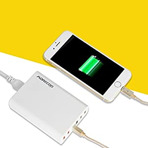 MORECOO [QC2.0対応] ACアダプター 縦置きスタンド付き USB急速充電器 PowerPort +6(Quick Charge 2.0対応 2ポート) 60W AC充電器 iPhone iPad 他対応 重さ180g (ホワイト)