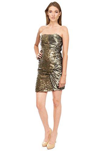 LaRok Strapless Ruched Sequin Dress