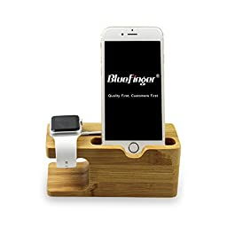 Bluefinger® Newest Arrival Presell 2 in 1 Creative Stand for Apple Watch Display Iphone Wooden Stand Cell Phone/Iwatch Charging Stand