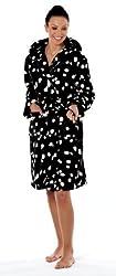 Ladies Dog Print/Dalmation Fleece Dressing Gown/Bath Robe White or Black Size 10 - 20