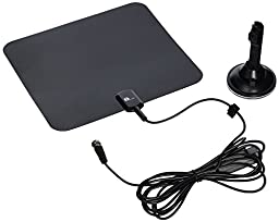 1byone 40 Miles Amplified HDTV Antenna with Suction Cup Stand and 10 Feet High Performance Coaxial Cable