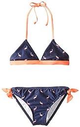 Splendid Big Girls\' Palm Beach Prep Reversible Bikini, Navy, 7