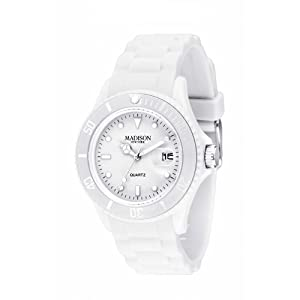 Madison New York - SU4167B - Montre Mixte - Quartz Analogique - Cadran Blanc - Bracelet Silicone Blanc