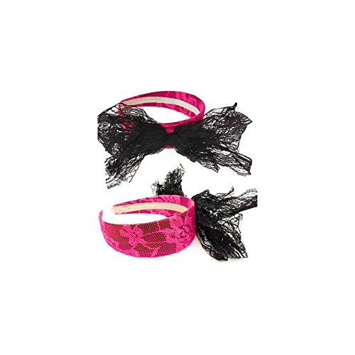 80s Style Pink Lace Headband with Bow