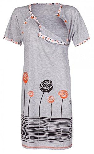 Happy Mama. Womens Maternity Nursing Breastfeeding Nightdress Shirt Gown. 135p (Orange, US 6, M)