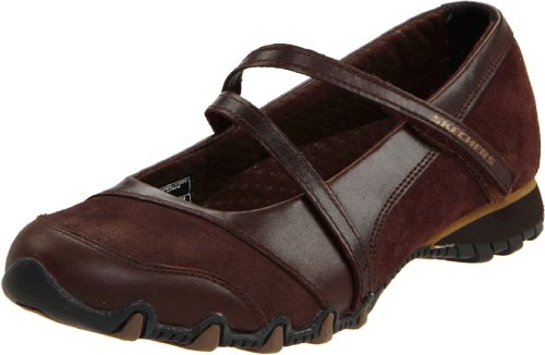 Skechers USA Women's Bikers-Step-Up Mary Jane Slip-On Flat, Toffee, 7.5 M US