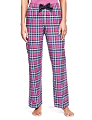 Limited Collection Pure Cotton Dobby Heart & Checked Pyjama Bottoms