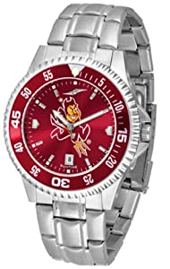 Arizona State Sun Devils Competitor AnoChrome Mens Watch with Steel Band and Colored... by SunTime