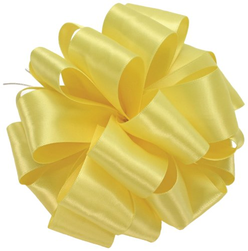 Offray Double Face Satin Craft Ribbon, 1-1/2-Inch Wide by 50-Yard Spool, Lemon