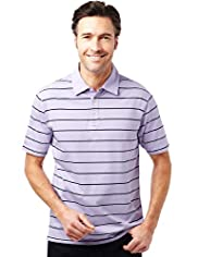 Pure Cotton Double Striped Polo Shirt with Stay New&#8482;