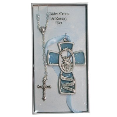 Blue Guardian Angel Wall Cross & Rosary Set Childrens Baby Infant Boy Christening Baptism.