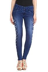 Lestal Women's HighWaist Pre Ripped Jeans - Classic Blue- 32
