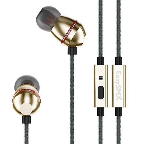 EasySMX KT-D6 Auricolari in-ear con Isolamento dei Rumori Audio Stereo Dual Driver Microfono e Tappi in Silicone per Jogging e Viaggi in Metallo di Alta Qualità