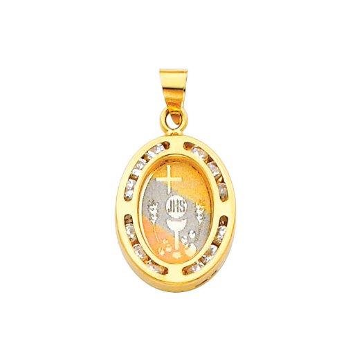 14K Yellow Gold Religious Communion CZ Cubic ZirconiaCharm Pendant