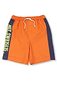 Contrast Drawstring Panelled Swim Shorts