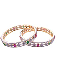 Goonj The Rhythm Of Jewels Fancy CZ Bangles For Women B31 (Size 2.8) - B00PFRRFKG