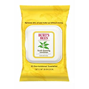 Burt's Bees Facial Cleansing Towelettes with White Tea, 30 Count (Pack of 2)