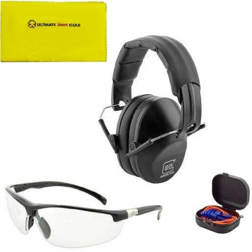 Glock Ap60214 Range Kit: Clear Shooting Eye Protection Glasses W/ Cover + String Soft Foam Earplugs W/ Storage Case + Glock Logo Adjustable Hearing Protecting Shooting Ear Muffs Noise Reduction 31 Db + Ultimate Arms Gear Rifle/Shotgun/Pistol/Gun Care And