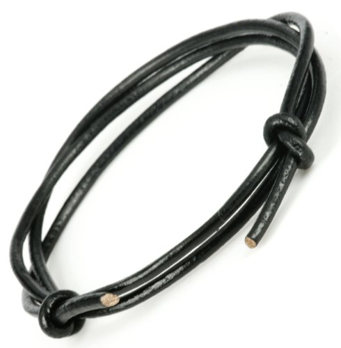 Mens black Adjustable 3.0mm Thick Leather Cord Surf Bracelet or Anklet