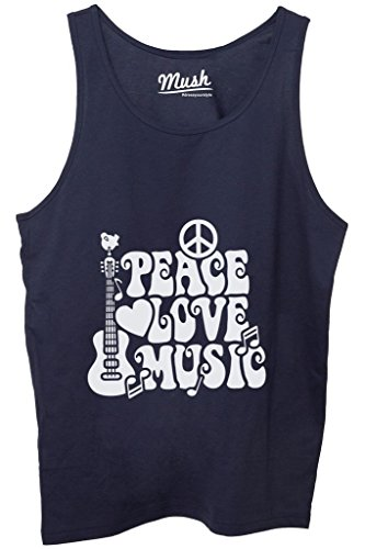 Canotta PEACE LOVE & MUSIC WOODSTOCK - MUSIC by MUSH Dress Your Style - Uomo-XL Blu Navy