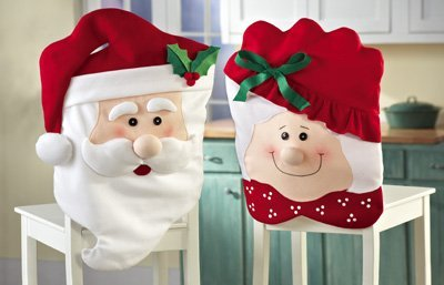 Christmas Kitchen Chair Back Covers - Mr. & Mrs. Santa Claus