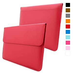 Snugg MacBook Air 13-inch & MacBook Pro 13-inch With Retina Leather Sleeve Case in Red - High Quality Case with Card Slot, Pocket and Premium Nubuck Fibre Interior