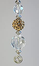 Gold Faux Rhinestone and Crystal Clear Faceted Glass Ceiling Fan Pull / Light Pull Chain