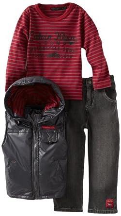 Calvin Klein Little Boys' Top And Jean Nylon Puffy Vest, Gray, 4T