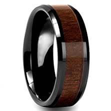 buy Mens 8Mm Black Tungsten Carbide Ring Wedding Engagement Band Polished Beveled Edges Wood Inlay Comfort Fit