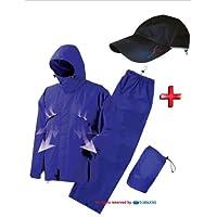 トオケミ(TOHKEMI)  透湿レインウェア NEW (AMAYADORI) サキュラ(#4700 テフロン仕様 ブルー)+透湿レインキャップ(#370 フリーサイズ ブラック)とのセット