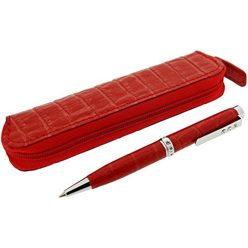 Set penna, con strass trasparenti, con custodia in similpelle, colore: rosso, con scatola regalo marchiata O.I.W.