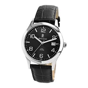 Wrist watch for men 'Pierre Lannier' steel tight black.