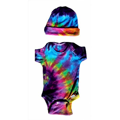 BMD -Pink/Multi Color Gerber Tie Dye Infant Onesie Set by Blue Mountain Dyes, Newborn to 24 Months