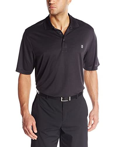 IZOD Men's Short Sleeve Poly Solid Grid Golf Polo