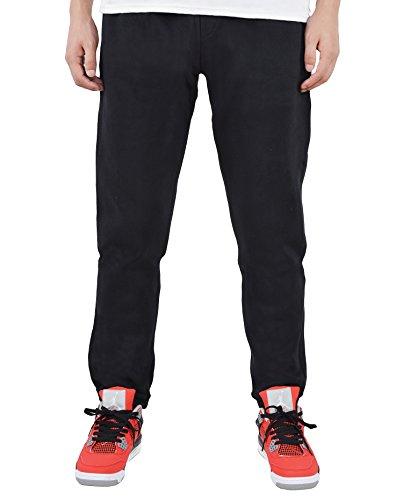Men's Fleece Heathered Gym Drawstring Sweatpants (Black,small)