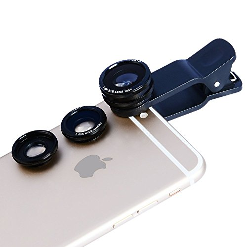 Phone Lens Apexel 3 in 1 Camera Lens Kit 180 Degree Fisheye + 0.65x Wide Angle Lens + 10x Macro Lens for Iphone 6/6s 6 Plus/6s Plus 5/5s Samsung Galaxy S6 S5 S4 Note 5 4 3 Phones Tablets Black (Olloclip Samsung Galaxy S5 Mini compare prices)