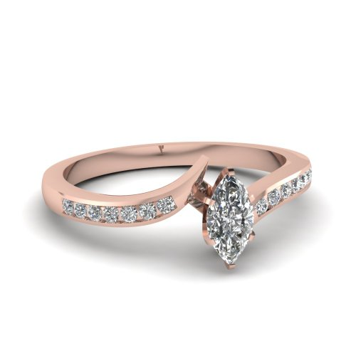 Fascinating Diamonds Twisted Edge Engagement Ring Channel Set 0.50 Ct Marquise Cut Diamond D-Color Gia