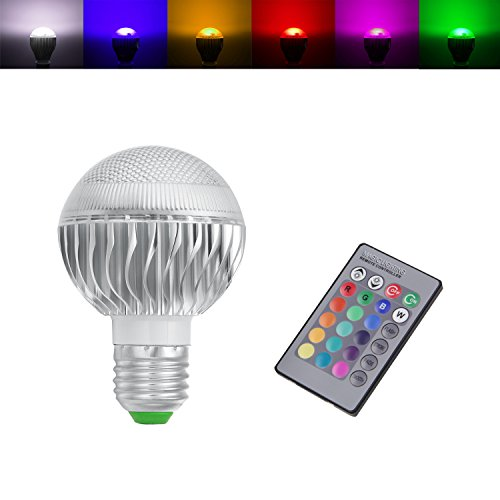 Bogao E27 / E26 Standard Screw Base RGB Multicolored LED Light 16 Colors+ 24Key Remote Control Changing Dimmable Energy Saving Lamp Bulb with IR Remote Control Mood Ambiance Lighting (3 Watts)