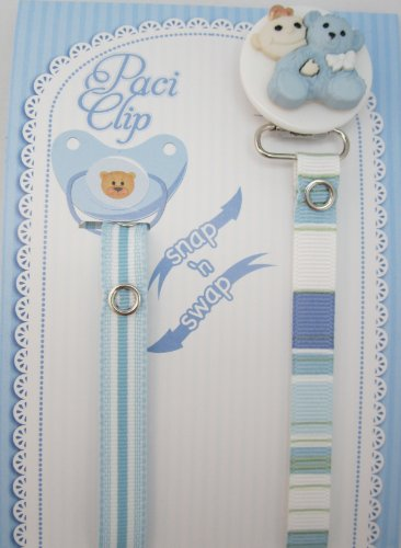 Blue Teddy Bear Ribbon Pacifier Clip
