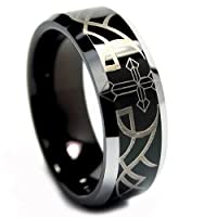 8MM Black Tungsten Wedding Band Ring Laser Etched Cross and Thorn Design Sizes 8 to 13