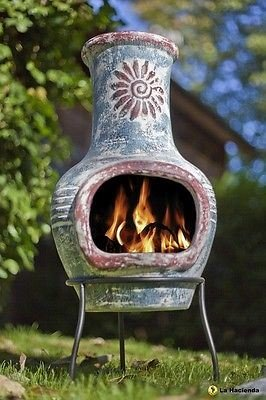 Small Chimenea Swirl Clay in  Blue and Red Small OGD025