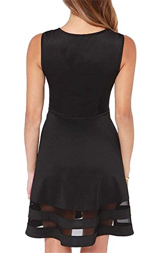 SunFashion Womens Black With Sheer Mesh Flare Dress