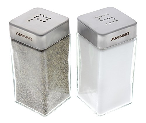 Set of 2 - High Grade Quality Glass Salt and Pepper Shakers - Stainless Steel Tops - 2 X 2 X 4 inches (Wildlife Salt And Pepper Shakers compare prices)