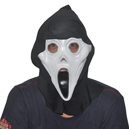 KingMas Halloween Costume Scary Ghost Face Scream Latex Mask