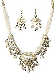 DollsofIndia Black Bead Adjustable Necklace With Meenakari Pendant & Earrings - White