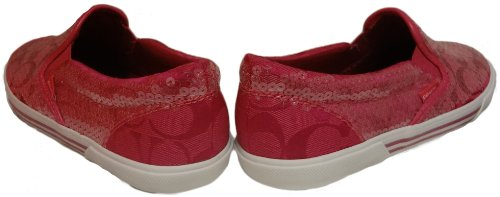 Coach   Coach Kivy 12cm Signature C Sequined Loafers, Fuschia, 8.5M