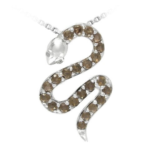 Sterling Silver Smokey Quartz and Diamond Snake Pendant Necklace (0.007 cttw, I-J Color, I2-I3 Clarity), 18