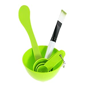 Overfeel 4 In 1 Facial Skin Care Mask Mixing Bowl Stick Brush Gauge Spoon Set - Green