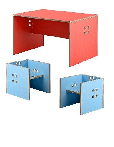 Kindersitzgruppe – Kindermöbel – 2 Kinderstühle/Hocker + 1 Kindertisch/Bank. Tisch rot, Farbe Stühle frei wählbar. (Stühle / Hocker hellblau, Tisch / Bank rot) jetzt bestellen