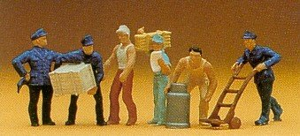 Delivery Men w/Loads (6) HO Scale Preiser Models